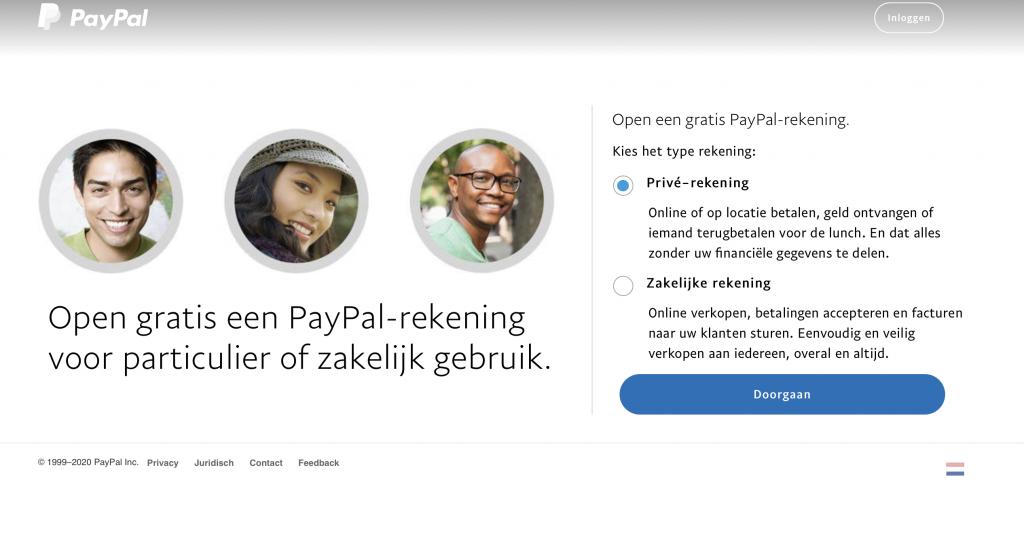 maak je eigen PayPal account aan.
