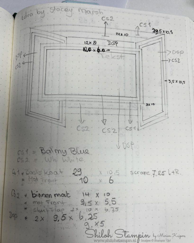 Sketch met maten van de kaart.